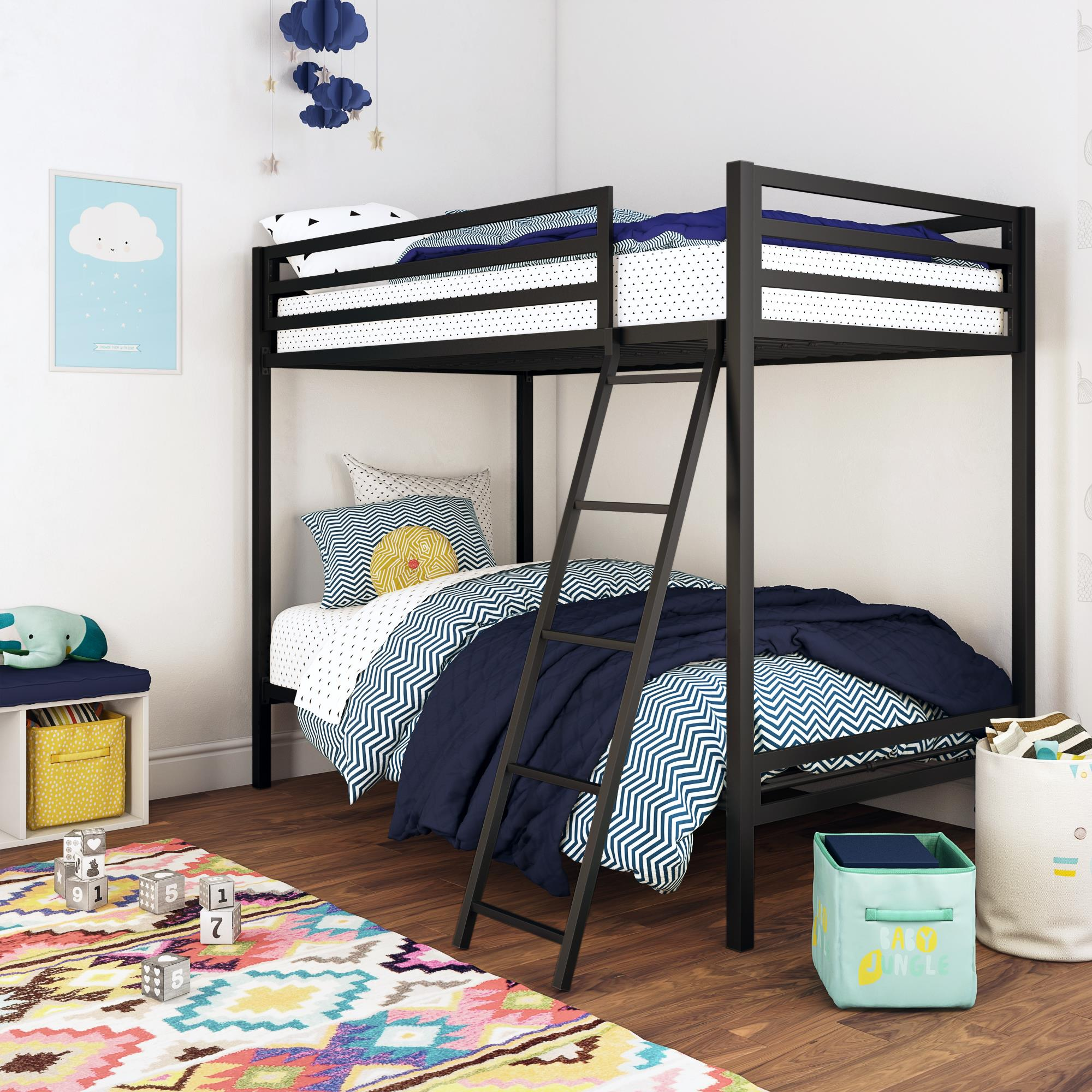 Picture of: Mainstays Premium Metal Twin Over Twin Bunk Bed Multiple Colors Walmart Com Walmart Com