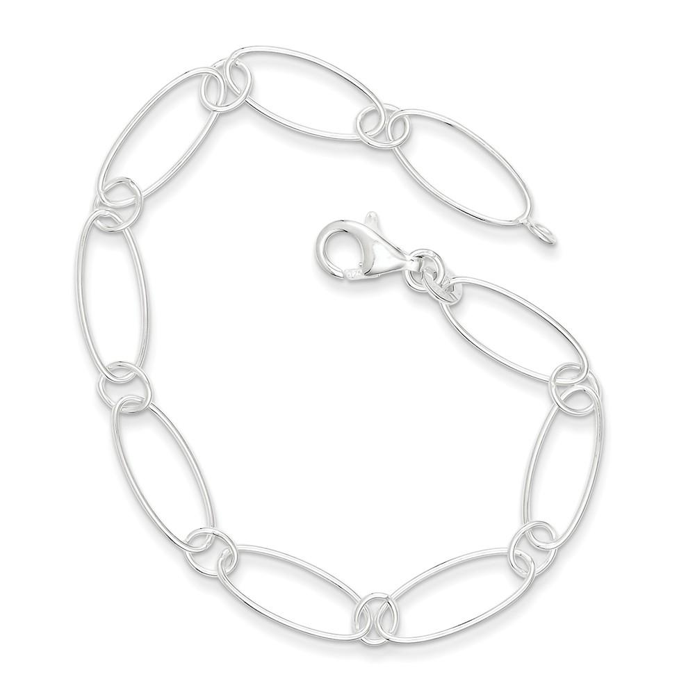 Sterling Silver 7.75in Oval Link Bracelet