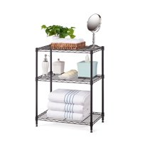 "HSS 13.4""Dx23.2""Wx30.6""H 3 Tier Stackable Wire Shelving Rack, Black"