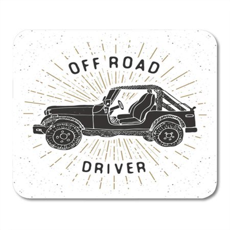 LADDKE 4Wd Offroad SUV Car Vintage Label Sketch Retro Badge Mousepad Mouse Pad Mouse Mat 9x10