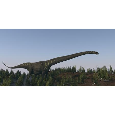A Large Mamenchisaurus Walking Along A Dry Riverbed Canvas Art   Kostyantyn Ivanyshenstocktrek Images  20 X 10