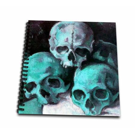 3dRose Pyramid of Skulls - halloween, skull, skulls, teal, teal skulls, halloween party, pyramid of skulls - Drawing Book, 8 by 8-inch