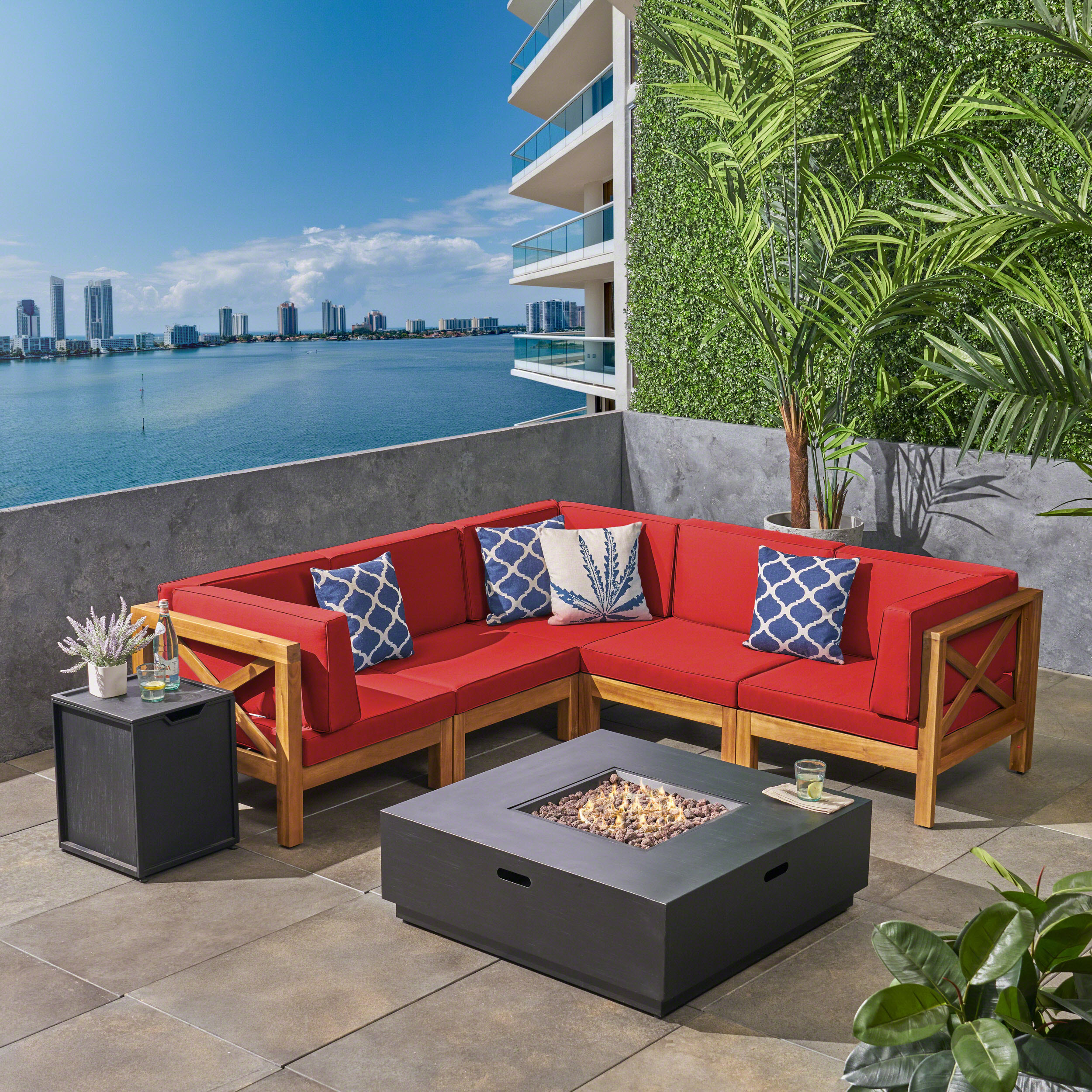 Markus Outdoor 7 Piece Acacia Wood Sectional Sofa Set with Cushions and Fire Pit, Teak, Red, Dark Gray
