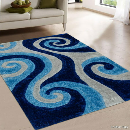 Chic Hand Tufted Rug - Allstar Blue Shaggy Area Rug with 3D Light Blue Spiral Design. Contemporary Formal Casual Hand Tufted (5' x 7')