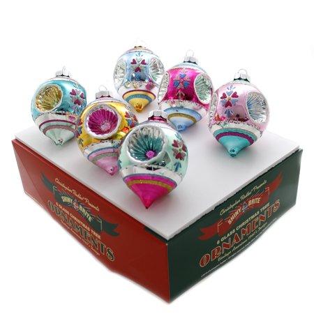 Shiny Brite VC DEC TRIPLE REFLECTORS TULIPS Glass Ornaments