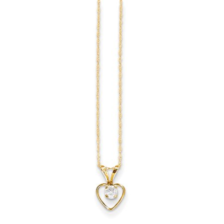 14k Yellow Gold 3mm White Zircon Heart Birthstone Chain Necklace Pendant Charm Kid Gifts For Women For (14k Yellow Gold Heart Dangle Necklace)