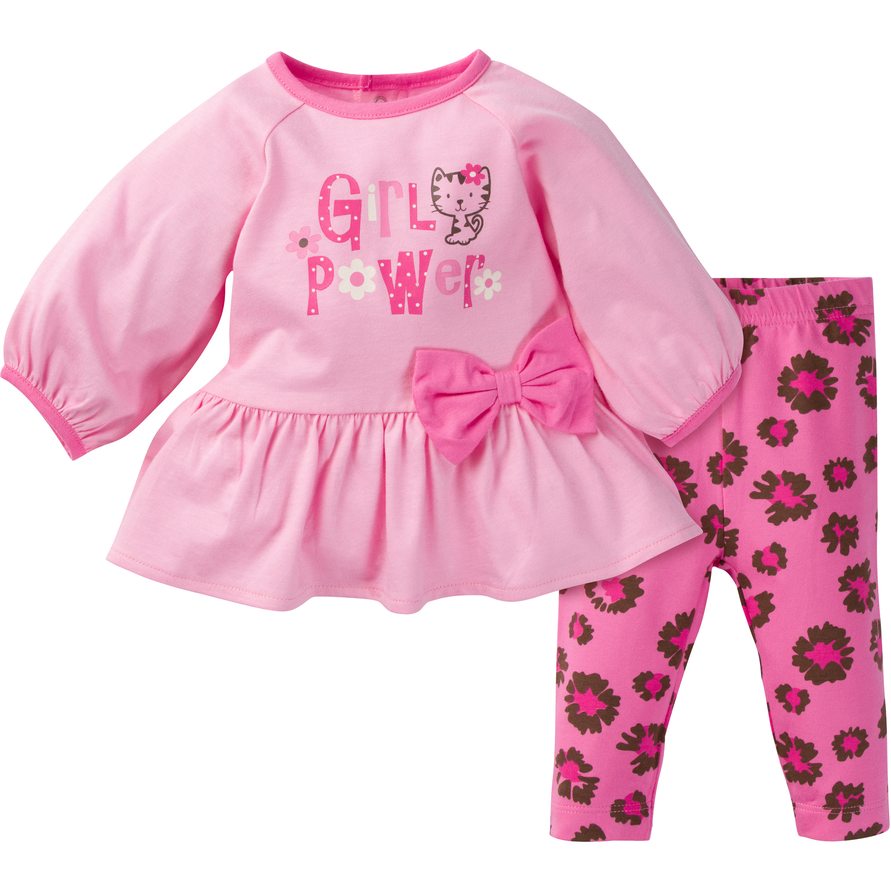 Newborn Baby Girl Tunic & Bow Legging 2pc Outfit Set