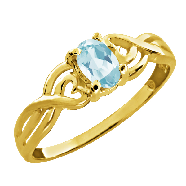 0.55 Ct Oval Sky Blue Topaz 14k Yellow Gold Ring