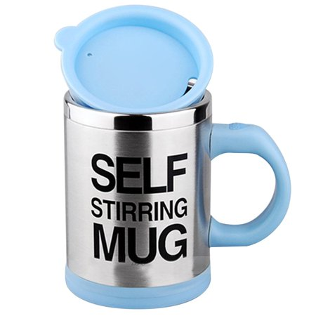 VAlinks(TM) Updated Version Premium Leakproof Self Stirring Coffee Mug - Electric Stainless Steel Automatic Self Mixing Cup Travel Mug 401-500mL Auto Mixing Tea Coffee Cup with Agitating Vane (Blue) ()