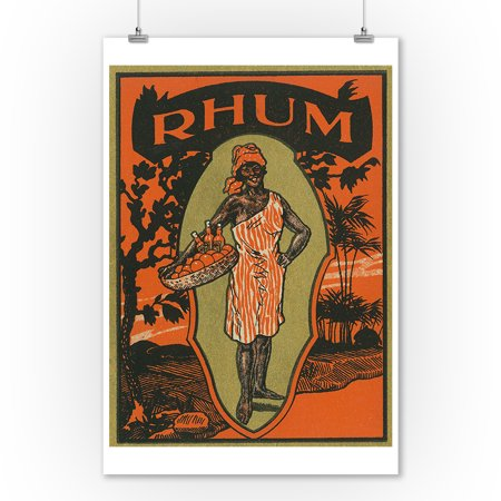 Rhum Woman with Basket of Fruit and Drinks Rum Label (9x12 Art Print, Wall Decor Travel Poster)