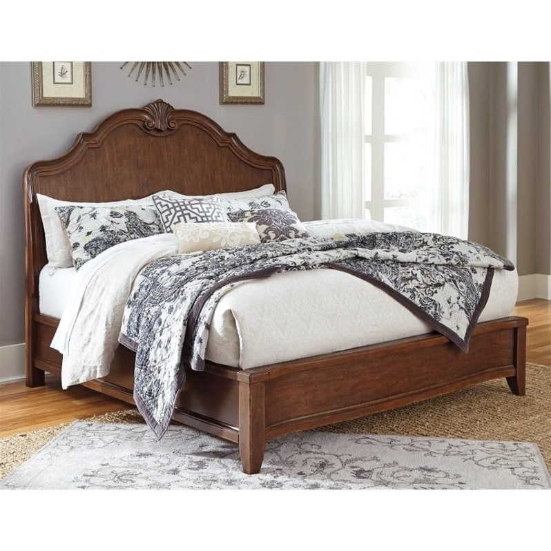 Ashley Balinder Queen Sleigh Bed in Medium Brown by Ashley Furniture