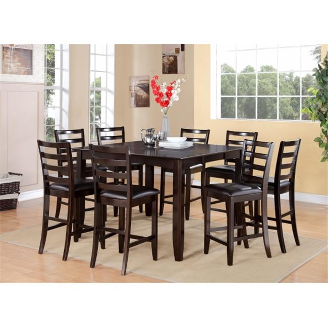 East West Furniture FAIR7-CAP-LC Fairwinds 7PC Set with Square 54 in. Gathering Table and 6 ladder back Faux Leather Upholstered seat stools