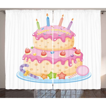 Kids Birthday Curtains 2 Panels Set Pastel Colored Party Cake With Candles And Candies