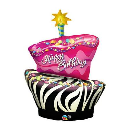 Funky Zebra Birthday Cake Foil Balloon