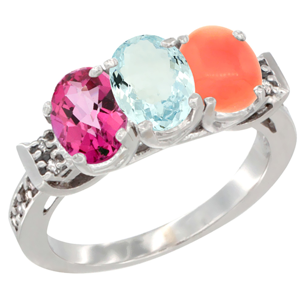 14K White Gold Natural Pink Topaz, Aquamarine & Coral Ring 3-Stone 7x5 mm Oval Diamond Accent, sizes 5 10 by WorldJewels
