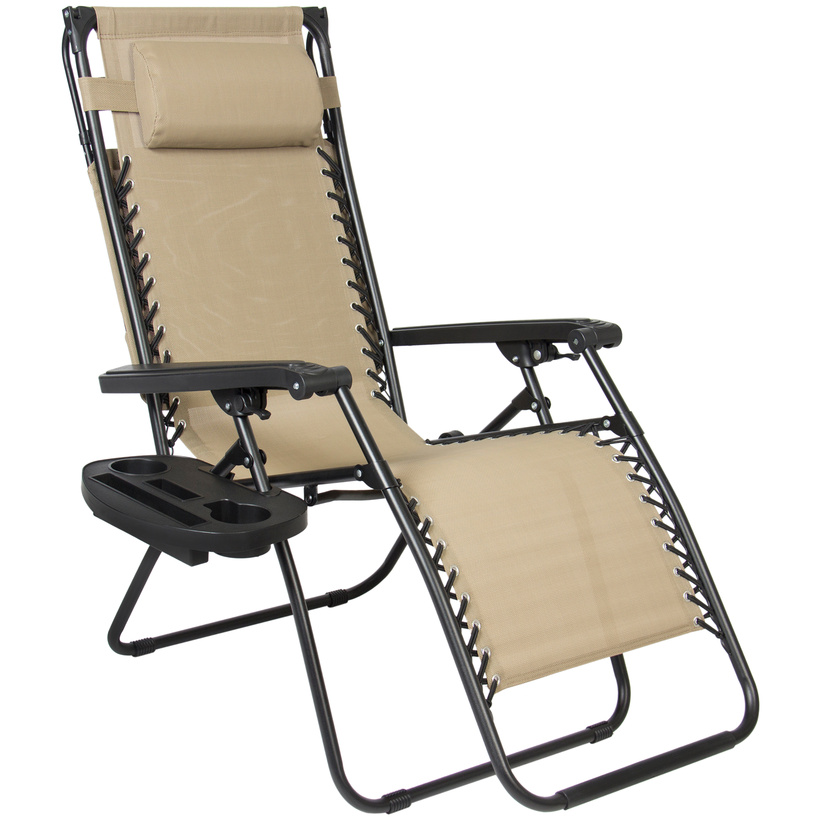 Outdoor anti gravity chair - Folding Zero Gravity Recliner Lounge Chair With Canopy Shade Magazine Cup Holder Walmart Com
