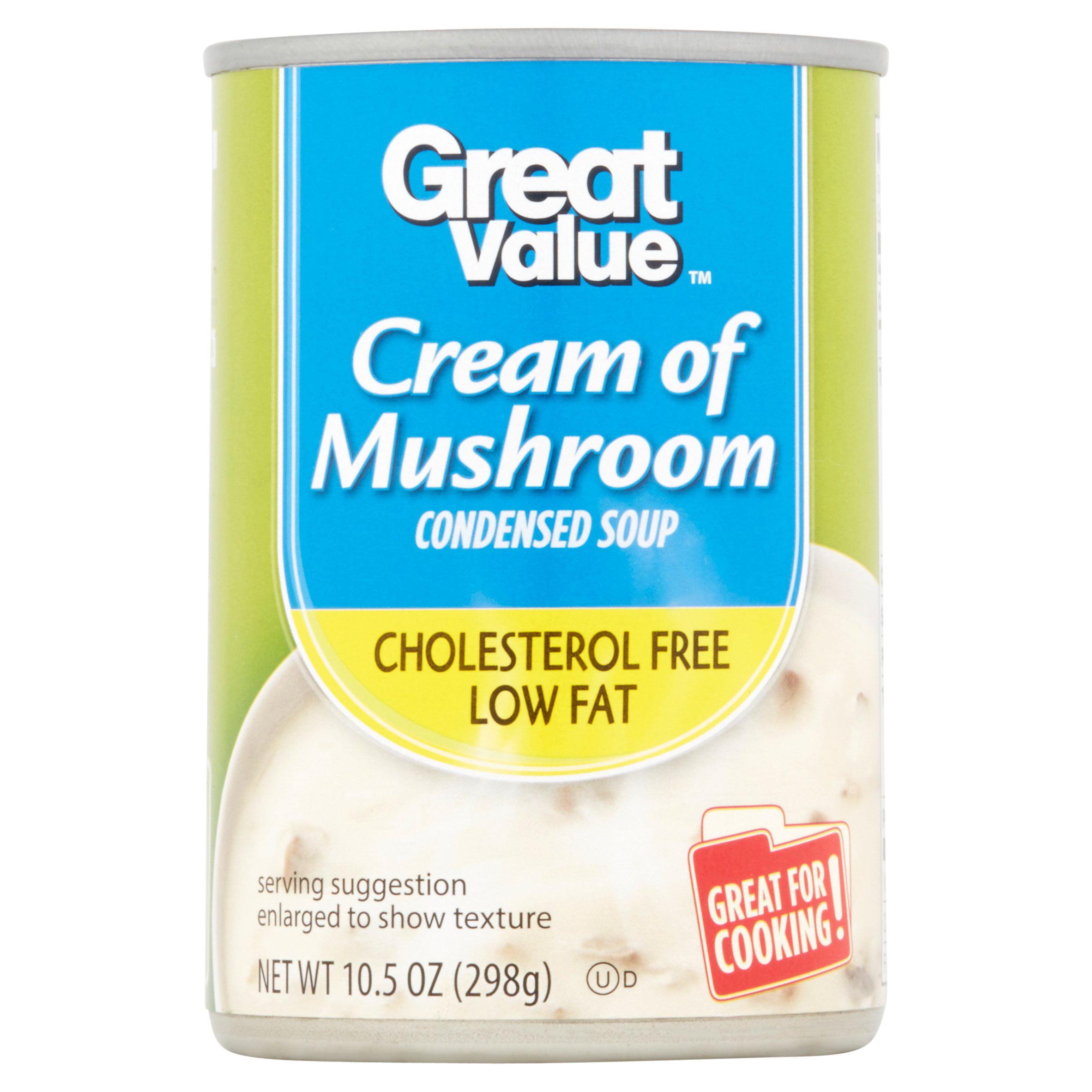 Great Value Cream of Mushroom Condensed Soup, Cholesterol Free Fat Free, 10.5 oz