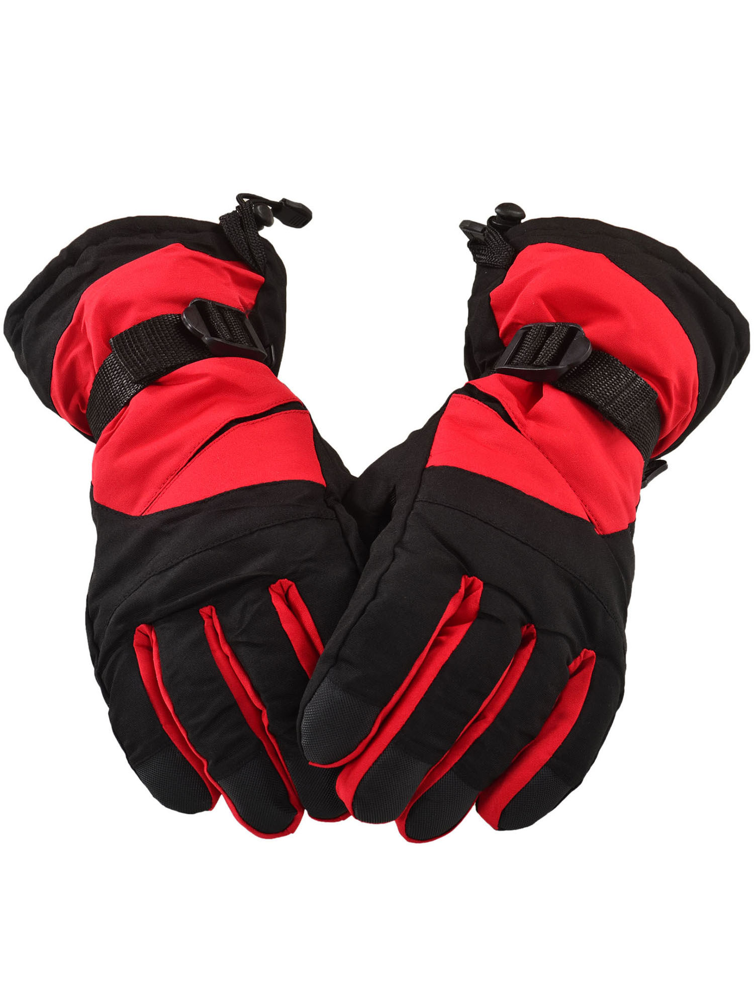 Winter Sportswear Thermal Insulated Adjustable Snowboard   Ski Gloves,Red Black by