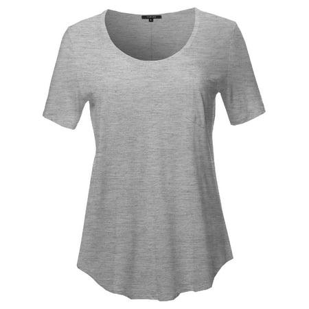 FashionOutfit Women's Short Sleeve Wide Scoop Neck T-Shirt