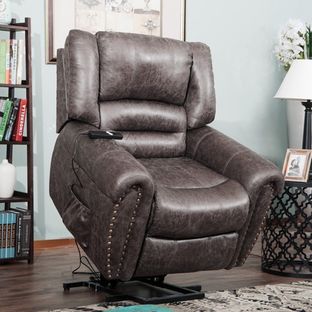 Harper & Bright Designs Living Room Electric Power Comfort Lift Recliner PU Leather Padded for the (Best Lift Chair Manufacturer)
