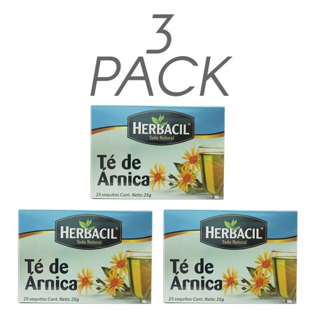 Herbacil Arnica Tea. Herbal Infusion. Bruise and Wound Heal. Pain Relief. 25 Teabags. 0.88 Oz / 25 g. Pack of 3