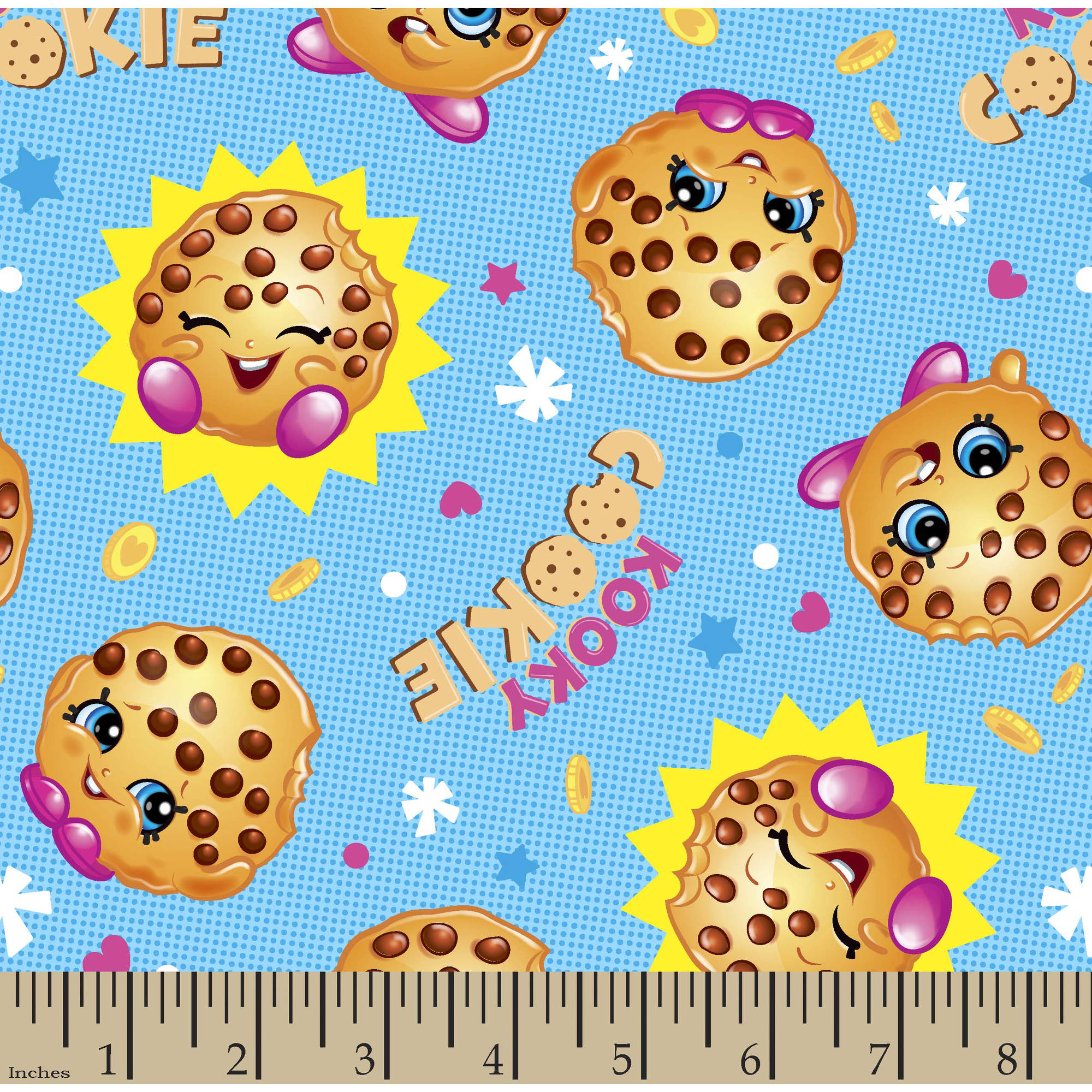 """Moose Shopkins Cookie with the Look Fabric by the Yard, Blue, 43""""/44"""" Width"""