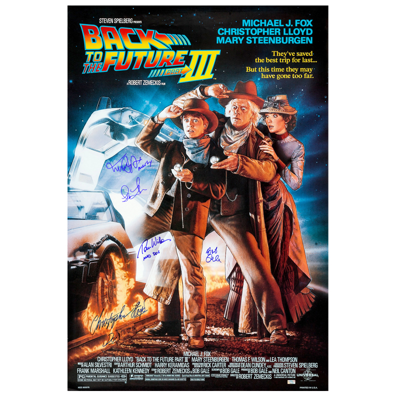 Click here to buy Michael J. Fox, Christopher Lloyd, Thomas Wilson, Lea Thompson and Bob Gale Autographed 27?40 Back to the....