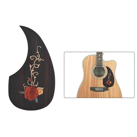 """Wooden Guitar Pickguard Pick Guard for 40"""" 41"""" Acoustic Guitars Ebony Wood with Decorative Flower Pattern"""