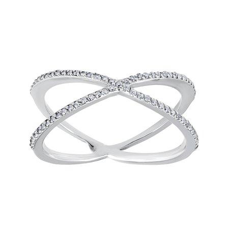 - White Gold Round Diamond Crossover Cocktail Fashion Statement X Ring 1/5ct