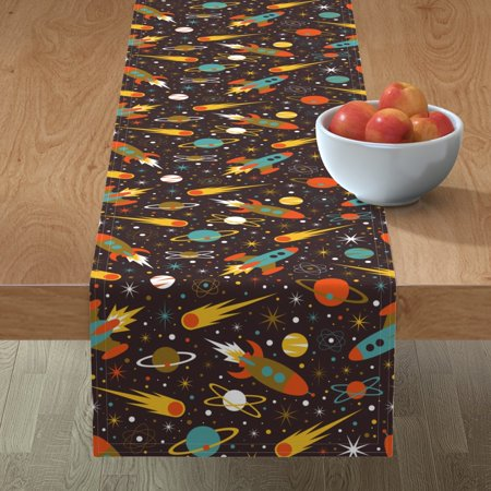 Image of Table Runner Space Race Space Outer Space Rocket Star Planet 1960S Cotton Sateen