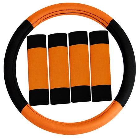 Foam Padded Steering Wheel - FH GROUP Modernistic Steering Wheel Cover and Seat Belt Pads, Orange