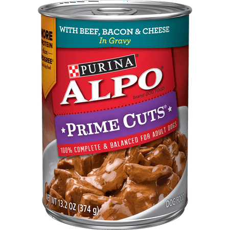 Purina ALPO Gravy Adult Wet Dog Food, Prime Cuts With Beef, Bacon & Cheese - (12) 13.2 oz. Cans 13.2 Ounce Puppy Food