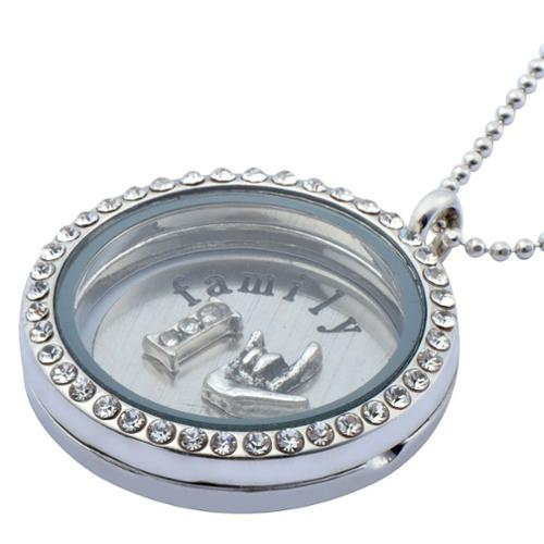 Zodaca Family Style Living Memory Floating Glass Locket Charms Necklace Pendant Chain Gift Stainless Steel 1.2""