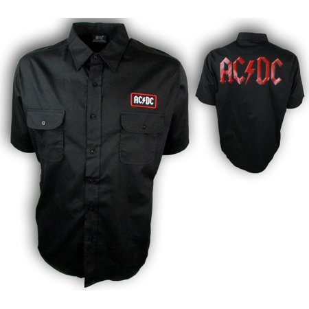 Coat Black Short Sleeve Buttons - AC/DC Men's Button Down Black Short Sleeve Work Shirt