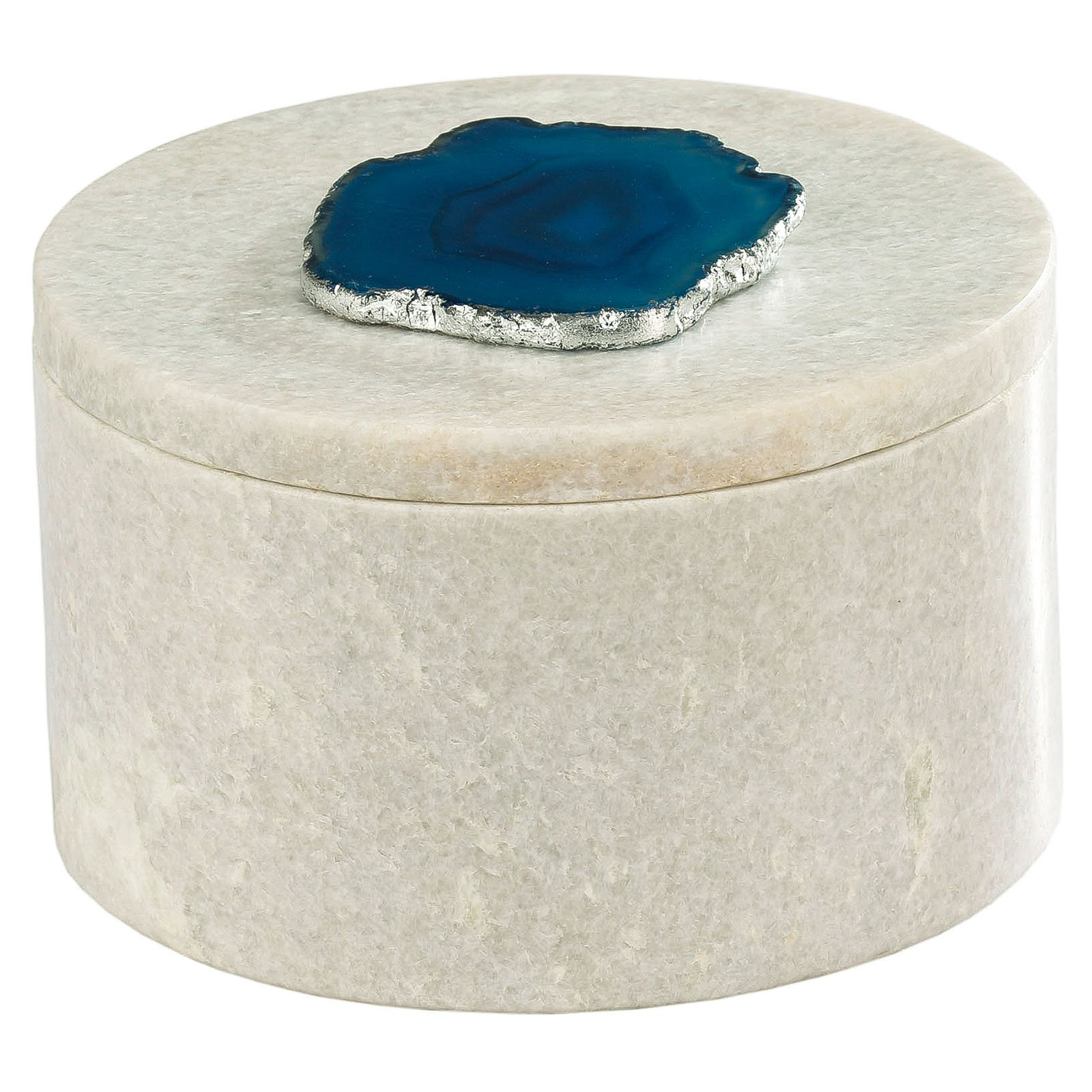Dimond Home Antilles Round White Marble with Agate Box