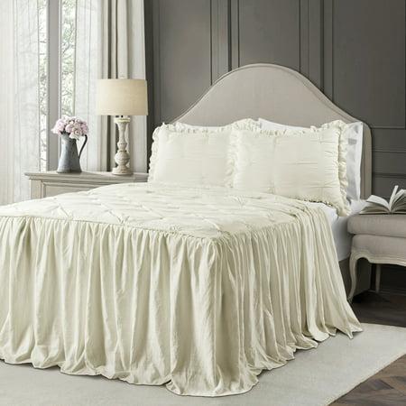 King 3pc Ravello Pintuck Ruffle Skirt Bedspread & Sham Set Ivory - Lush Décor