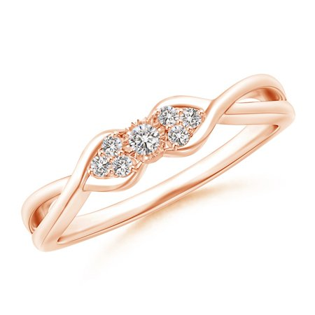 April Birthstone Ring - Illusion Set Diamond Crossover Promise Ring in 14K Rose Gold (2mm Diamond) - SR1588D-RG-IJI1I2-2-6.5