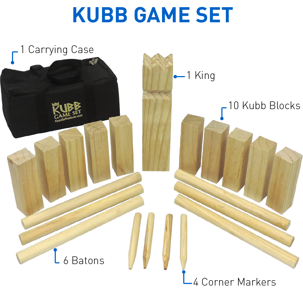Kubb The Viking Wooden Outdoor Lawn Game  1 King, 10 Kubb Blocks, 6 Long Batons, 4 Corner Markers & Carrying Bag