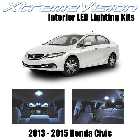 XtremeVision LED for Honda Civic 2013-2015 (8 Pieces) Cool White Premium Interior LED Kit Package + Installation Tool ()