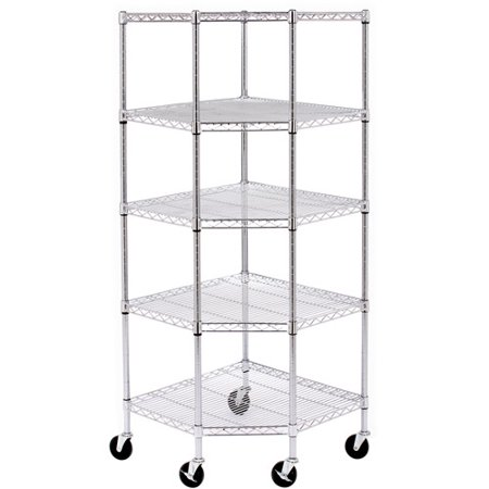 seville classics chrome wire steel 5 tier corner shelf. Black Bedroom Furniture Sets. Home Design Ideas