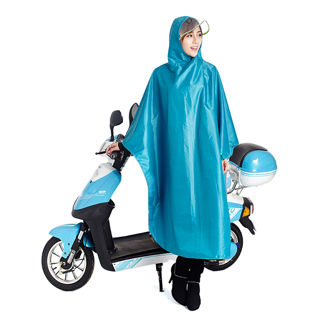 Click here to buy Sky Bule Adult Poncho Cycling Raincoat Bicycle Hooded Waterproof Rain Coat Cover.