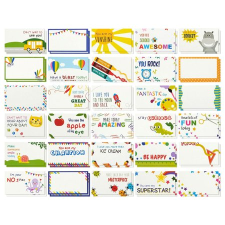Pack of 60 Lunch Box Notes For Kids Boys Girls From Mom and Dad, Colorful Inspirational and Motivational School Lunchbox Stickers Labels Cards, 2 x 3.5 Inches, by
