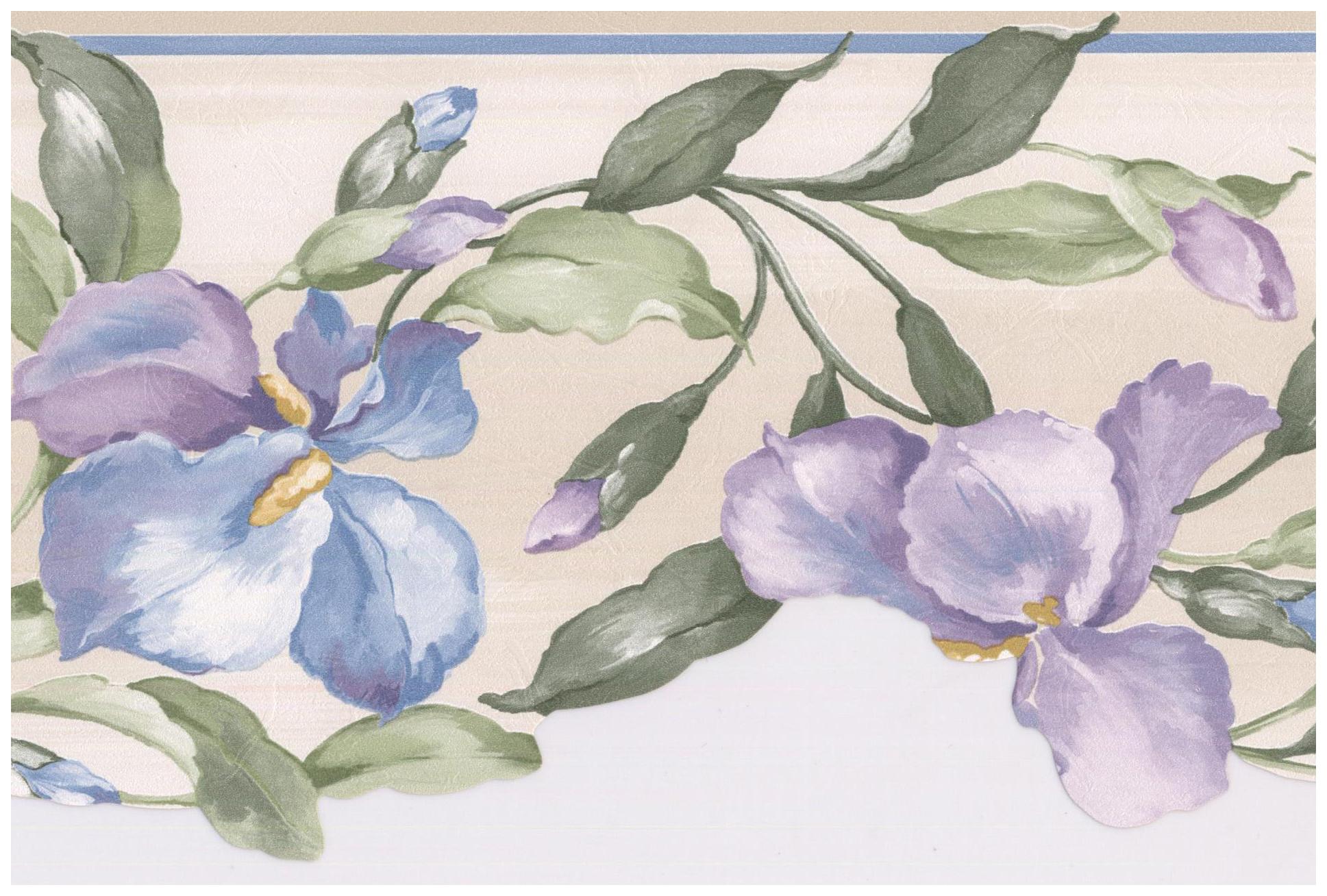 Prepasted Wallpaper Border Purple Blue Flowers On Vine Scalloped