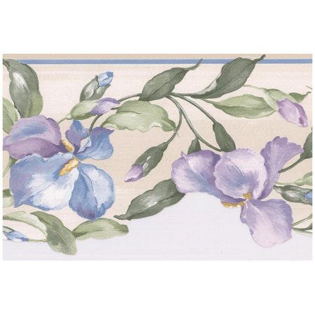 Prepasted Wallpaper Border - Purple Blue Flowers on Vine Scalloped Floral Wall Border Retro Design, Roll 15 ft. x 7 in.