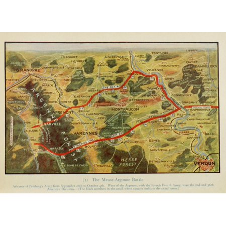Map Harpers Pictorial World War 1920 Meuse-Argonne Battle Poster Print (8 x (1920 Map)
