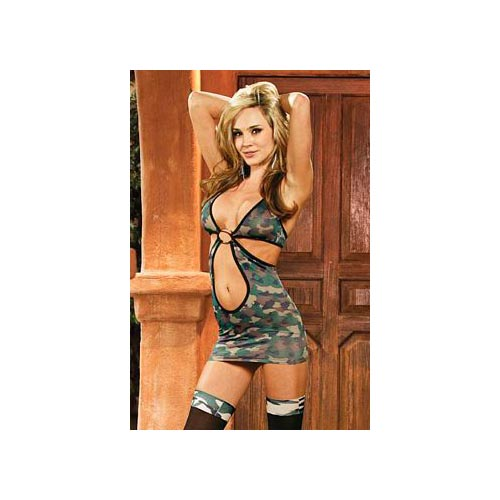 Camouflage Cut Out Mini Dress 1474 Camouflage