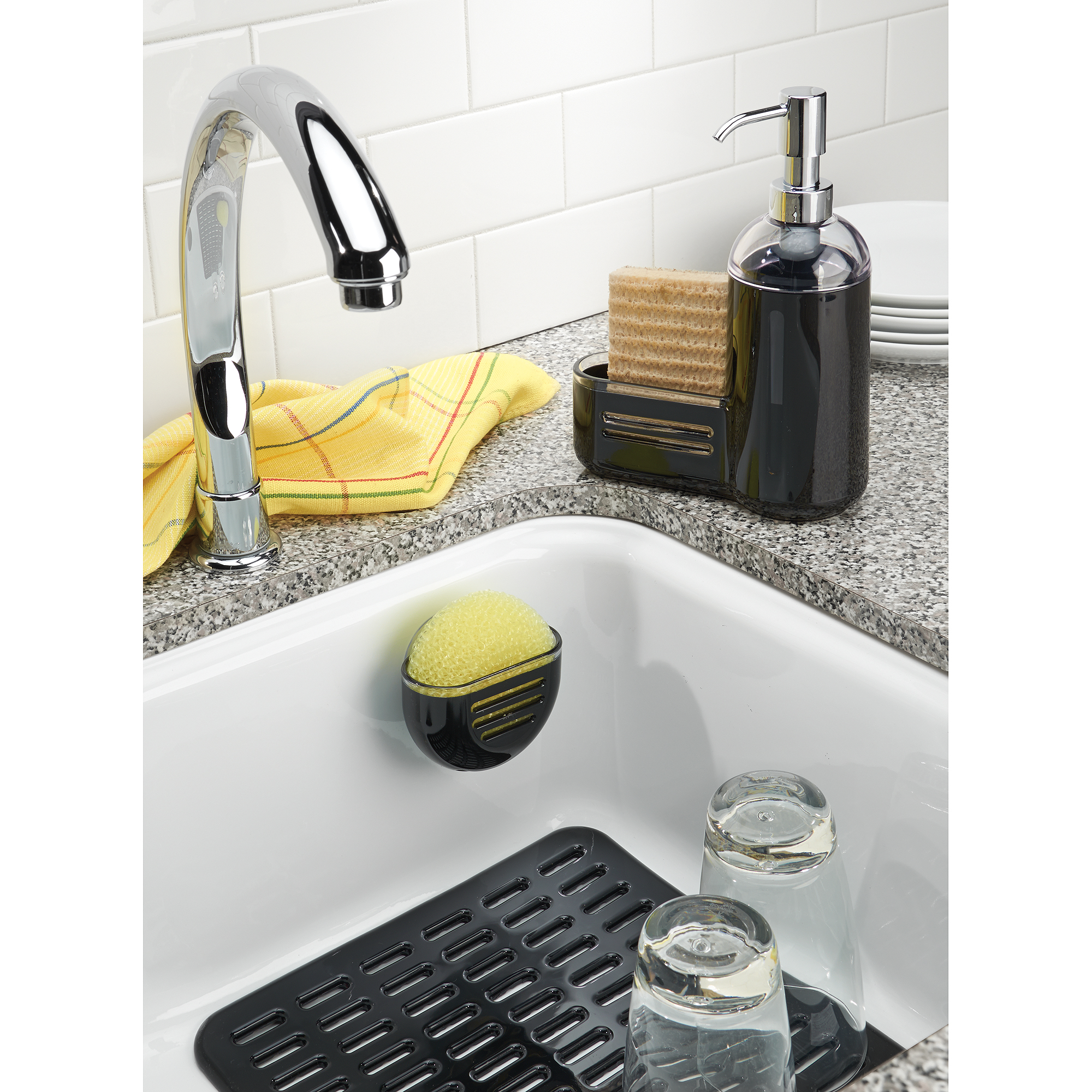 InterDesign Syncware Kitchen Sink Protector Mat, Large, Black   Walmart.com