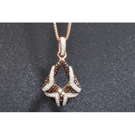 Red Diamond Tear Drop Pendant 10K Rose Gold Round Cut 1/3 CT.