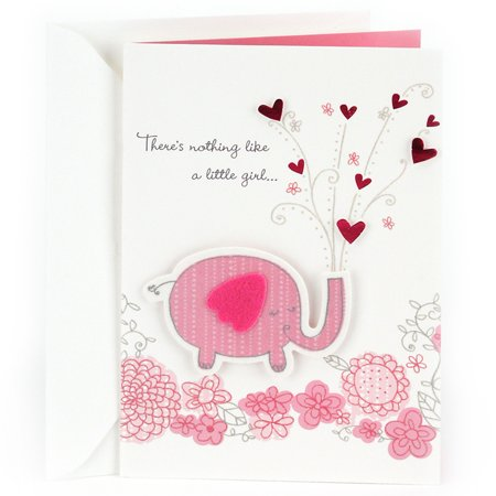 Hallmark Congratulations Greeting Card for New Baby Girl (Pink Elephant)