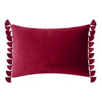 """Better Homes & Gardens Feather Filled Tassled Velvet Oblong Decorative Throw Pillow, 14"""" x 20"""", Merlot"""